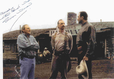 Movie producer and director Simon Wincer with Keith Carradine and Tom Selleck.